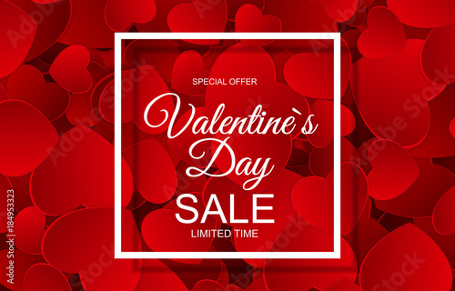 Fotografía  Valentines Day Sale Card with Frame. Vector Illustration