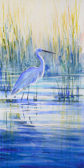 Blue heron on the lake shor...