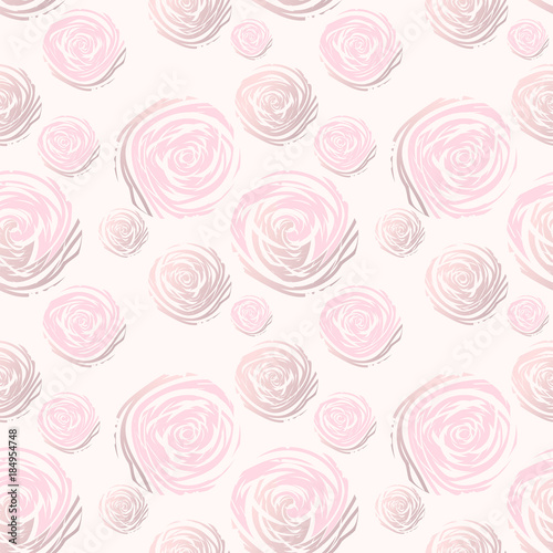 Abstract Roses Seamless Pattern. Pastel and Gold. Artistic background for wallpaper, wrapping, textile, wedding, save the date, banner, brochure, ...