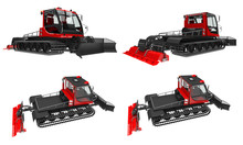 Set Machine For Clearing The Ski Slopes On A White Isolated Background. 3d Rendering.