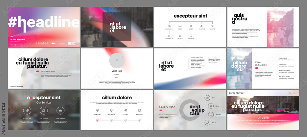 Fototapety, obrazy: Minimal presentation templates elements on a white background. Vector infographics. Use in Presentation, flyer and leaflet, corporate report, marketing, advertising, annual report, banner.