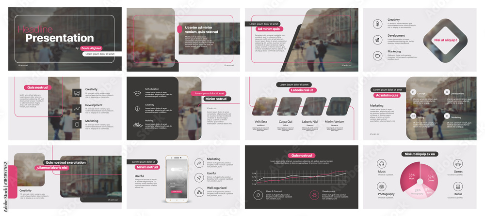 Fototapety, obrazy: Pink black minimal presentation templates elements on a white background. Vector infographics. Use in Presentation, flyer and leaflet, corporate report, marketing, advertising, annual report, banner.