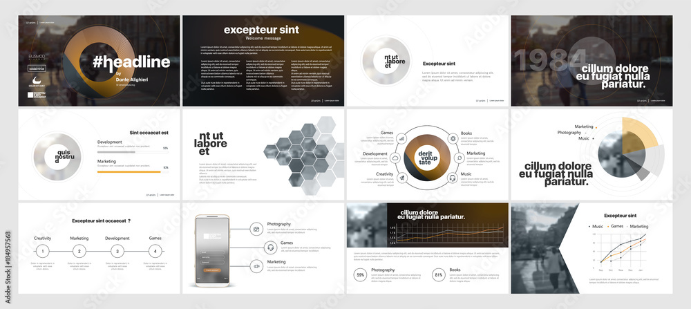 Fototapety, obrazy: Gold black minimal presentation templates elements on a white background. Vector infographics. Use in Presentation, flyer and leaflet, corporate report, marketing, advertising, annual report, banner.