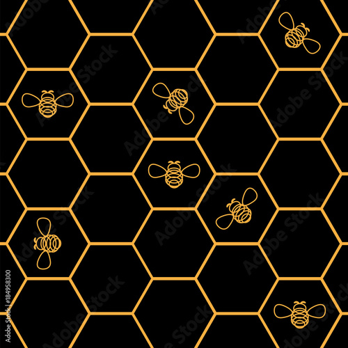 Cotton fabric Bees_in_Honeycombs. Vector_Illustration