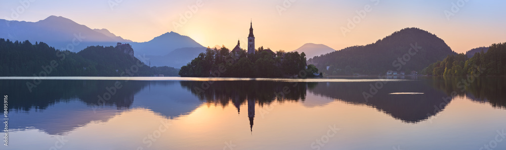 Fototapety, obrazy: Church and Castle in lake Bled, Slovenia at sunset, scenic summer panorama