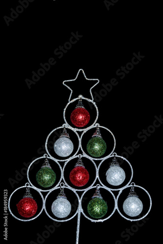 aea56c72f5aa Sparkly Christmas tree decoration made from red, green and white baubles  and silver wire with a silver star on top and a black background