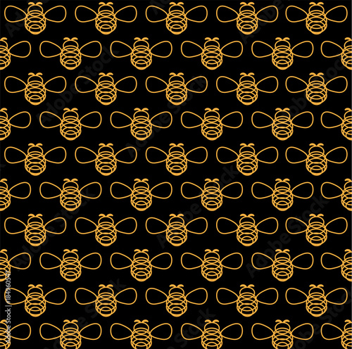 Cotton fabric Bee_Pattern. Vector illustration