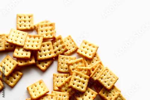 Cracker biscuit as wallpaper / A cracker is a baked food typically made from flour Wallpaper Mural