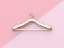 Pink Background Gold Cloth Hanger 3d Rendering