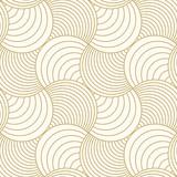 Deseniowy bezszwowy okrąg abstrakta fala tła lampasa złocisty luksusowy kolor i linia. Geometryczny wektor liniowy. Boże Narodzenie tło. - 184969362