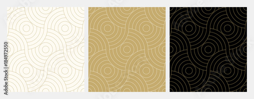 Pattern seamless circle abstract wave background stripe gold luxury color and line. Geometric line vector. Christmas background.