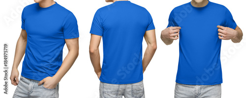 Young Male In Blank Blue T Shirt Front And Back View Isolated White