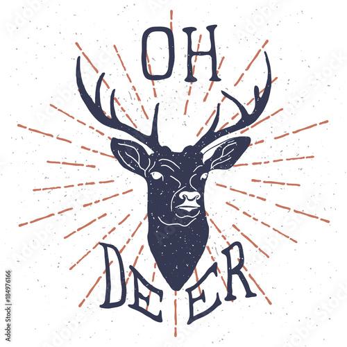 recznie-rysowany-jelen-z-napisem-oh-deer-na-bialym-tle