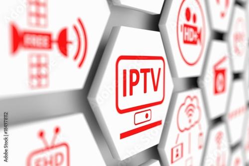Fotografía  IPTV concept cell blurred background 3d illustration