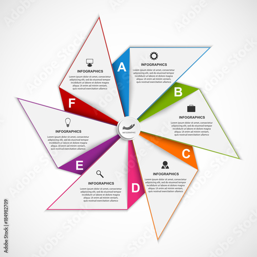 Valokuvatapetti Abstract options infographics design template in the shape of air pinwheel