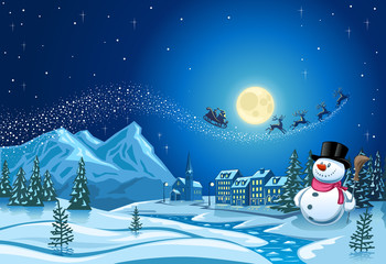 Snowman in Christmas night with Santa sleigh in the sky