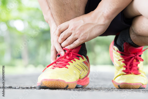 Archillis tendinitis, Injury sustained while exercising and running Canvas Print