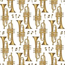 Seamless Pattern. Brass Trumpe...
