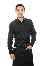 Waiter In Black Uniform On Whi...