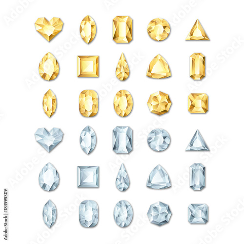 Vector realistic golden and silver white gems and jewels on white background Wallpaper Mural