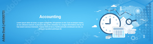 Cuadros en Lienzo Accounting Audit Business Horizontal Web Banner With Copy Space Flat Vector Illu