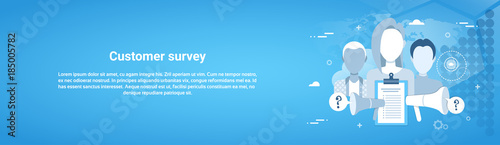 Customer Survey Web Horizontal Banner With Copy Space Flat Vector Illustration Tapéta, Fotótapéta