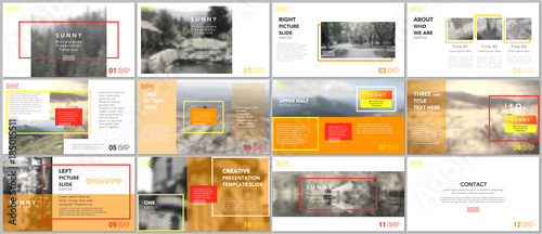 Fototapeta Clean and minimal presentation templates. Red and yellow color elements on a white background. Brochure cover vector design. Presentation slides for flyer, leaflet, brochure, report, advertising. obraz