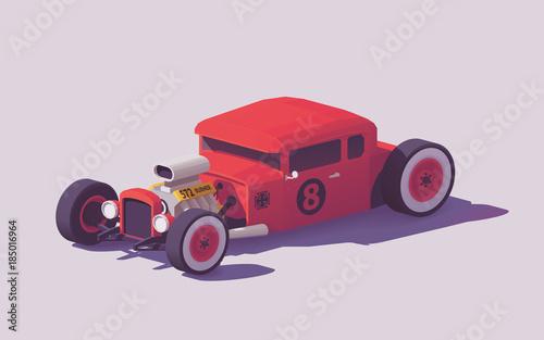 Fotografie, Obraz Vector low poly classic hot rod car