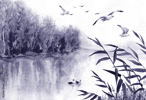Foto op Canvas Lavendel Ink Landscape with Birds and Reeds