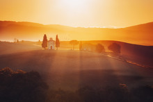 Tuscany Landscape At Sunrise W...