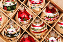 Big Set Of Luxury Winterberry Glass Baubles. Retro Styled Image Of Vintage Christmas Decoration In A Box. Christmas Holidays Composition.
