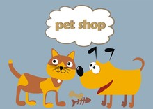 Pet Shop, Cat And Dog, Funny I...