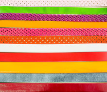 Set Of Colorful Leather Belts