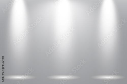 Fototapety, obrazy: Grey background with  three spotlight. Vector illustration concept design.