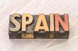 Spain word in vintage wood type