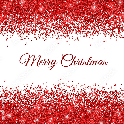 Fotografia  Merry Christmas Card with red glitter on white background. Vector