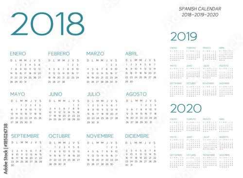 Vászonkép  Spanish Calendar 2018-2019-2020 vector