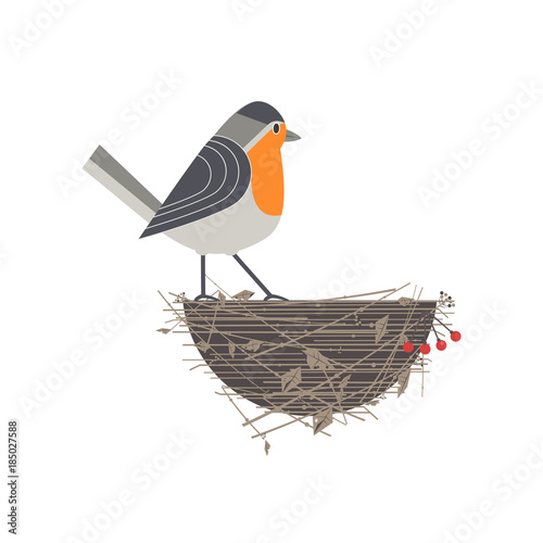 Photo Cute Robin bird on nest icon
