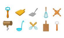 Kitchen Tools Icon Set, Cartoo...