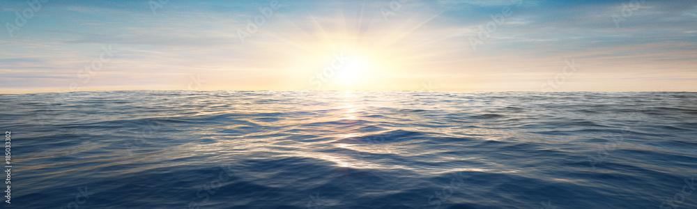 Fototapeta Wasserwellen im Meer bei Sonnenuntergang