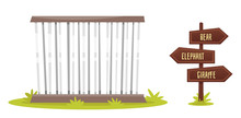 Zoo Cage With Wooden Signpost
