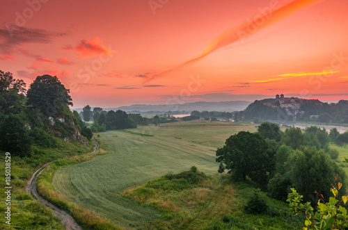 Cadres-photo bureau Kaki Colorful morning landscape in the morning, Poland, Tyniec near Krakow