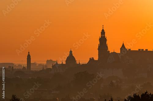 Aluminium Prints Delhi Krakow, Poland, Wawel castle silhouette at sunrise