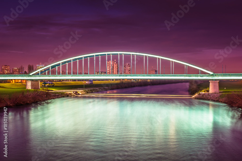 Sava river night view. / Night view at famous scenery in Zagreb city, River Sava.