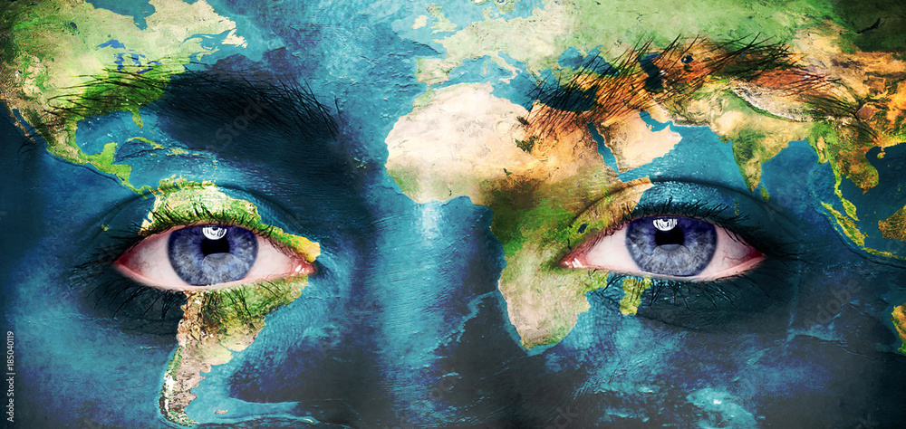 Fototapeta Eyes integrated with the world map.