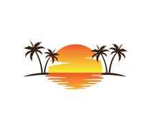Sunset Palm Coconut Tree Beach...