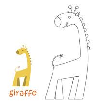Kids Coloring Page - Giraffe