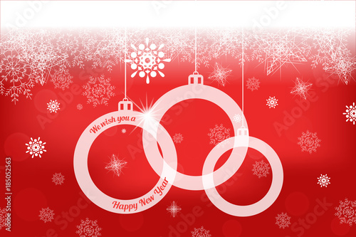 Hanging Christmas Ornaments Silhouette.Vector Wide Red Gradient Poster To Happy New Year Holiday
