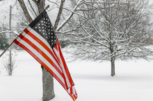 American Flag With Winter Snow...