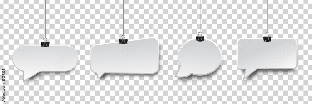 Fototapeta Vector collection of realistic isolated hanging speech bubbles on the transparent background.